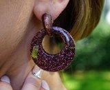Oorbellen Met Glitters - Rond - Oorhangers 4x4 cm - Bordeaux _