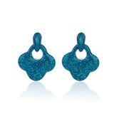 Oorbellen Met Glitters - Blad - Oorhangers 4x4 cm - Blauw_