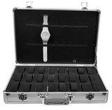 Aluminium koffer met Handvat voor Armbanden & Horloges 24 Vakken_