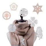 Magneet Broche Bloemen met Strass Stenen - Color Silver_