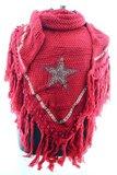 Donker Rood poncho/omslagdoek met ster 200x75 cm_