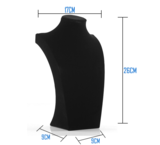 Display Hals Fluweel zwart 26 cm hoog_