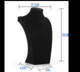 Display Hals Fluweel zwart 35 cm hoog_