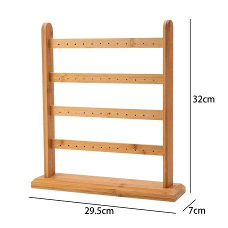 Earrings Display Presentation - Bamboo Wood - 32 cm High