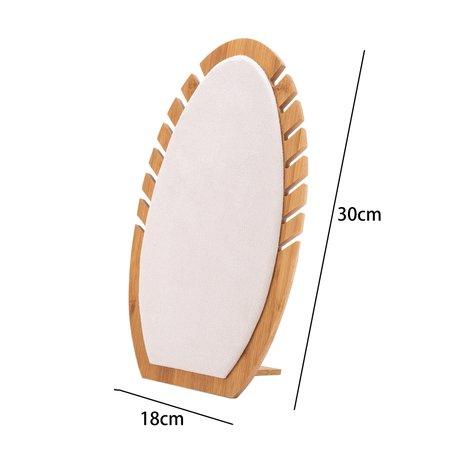 Luxe Ketting Collier Display Presentatie Middel - Bamboe Hout & Fluweel - 30 cm Hoog - Wit Beige