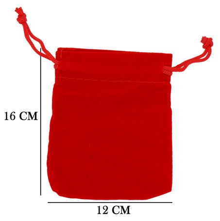 Velvet Organza bags 12x16 cm Pack of 50 Pieces - Red
