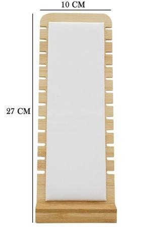 Luxe Ketting Collier Display Presentatie Middel - Bamboe Hout & Kunstleer - 27 cm Hoog - Wit