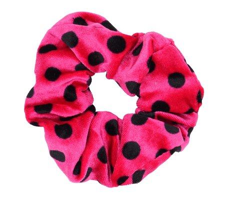 Velvet Scrunchie Dots - Roze & Zwart