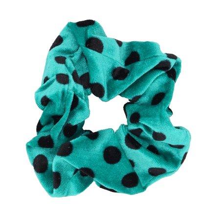 Velvet Scrunchie Dots - Groen & Zwart