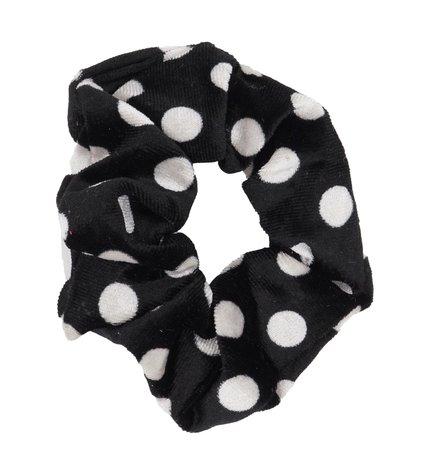 Velvet Scrunchie Dots - Zwart & Wit