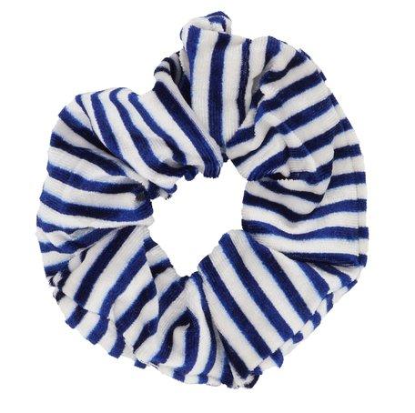 Velvet Scrunchie Gestreept - Wit & Blauw