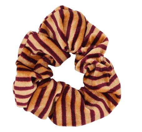 Velvet Scrunchie Gestreept - Oranje & Rood