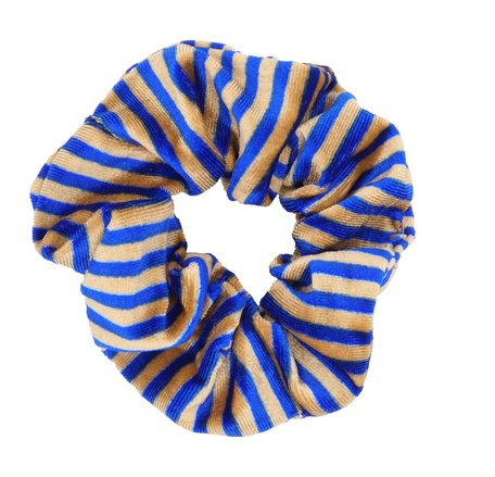 Velvet Scrunchie Gestreept - Goud & Blauw