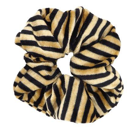 Velvet Scrunchie Gestreept - Goud & Zwart