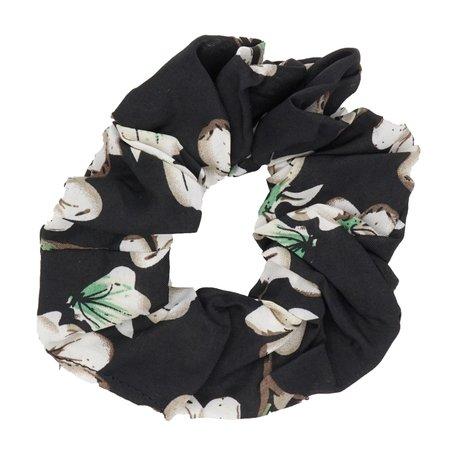Scrunchie Bloemen Zwart
