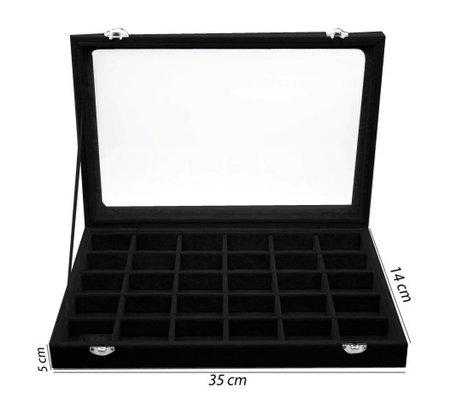 30 Vak Sieraden Accessoires Display Koffer - Zwart