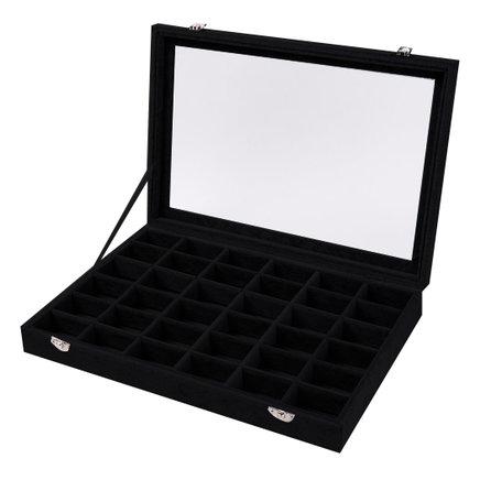 Luxe Vak Display koffer Fluweel 36 Vaks Zwart