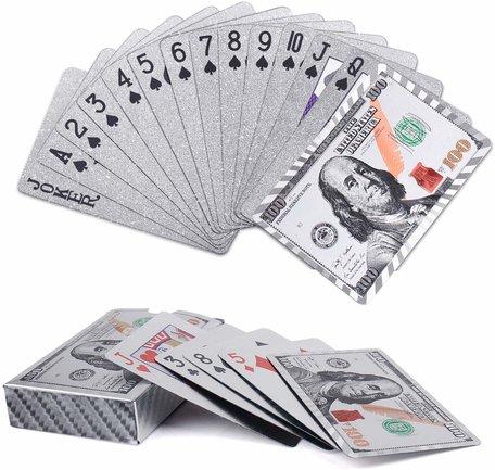 Speelkaarten - Luxe Glans Zilver Kleurige Poker Kaarten - Dollar biljetten Gekleurd