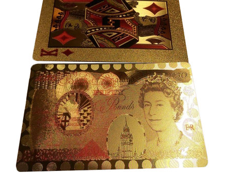 Speelkaarten - Luxe Glans Goud Kleurige Poker Kaarten - Pond biljetten Gekleurd