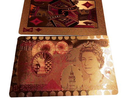 Speelkaarten - Luxe Glans Rosé Goud Kleurige Poker Kaarten - Pond biljetten Gekleurd