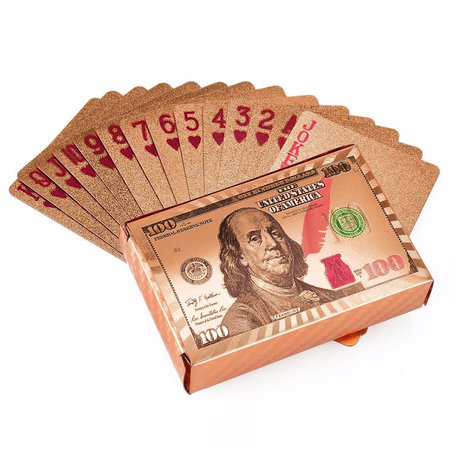 Speelkaarten - Luxe Glans Rosé Goud Kleurige Poker Kaarten - Dollar biljetten Gekleurd