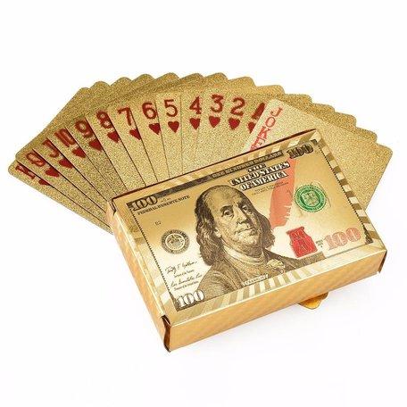 Speelkaarten - Luxe Glans Goud Kleurige Poker Kaarten - Dollar biljetten Gekleurd