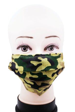 Wasbare mondkapje met neusclip /katoen / Machine Washable Cotton Mask print Leger 0% BTW