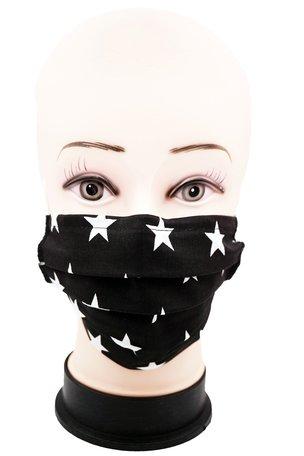 Wasbare mondkapje met neusclip /katoen / Machine Washable Cotton Mask kleur Zwart met Witte Sterretjes 0% BTW