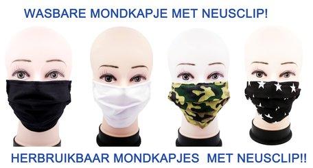 100st mix Wasbare mondkapje met neusclip /katoen / Machine Washable Cotton Mask 4 X 25tuks 0% BTW