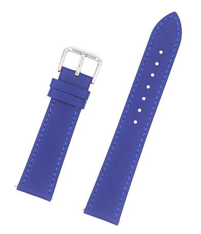 Horlogeband Leer 18mm - Gehechte Rand  + Push Pin - Blauw