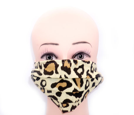 Wasbare mondkapje met neusclip /katoen / Machine Washable Cotton Mask - Tijger print