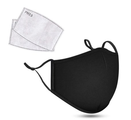 Kwalitatief Mondkapje Met 2 X Filter PM 2.5 | Herbruikbaar | Wasbaar | 2 laags Zwart Katoen