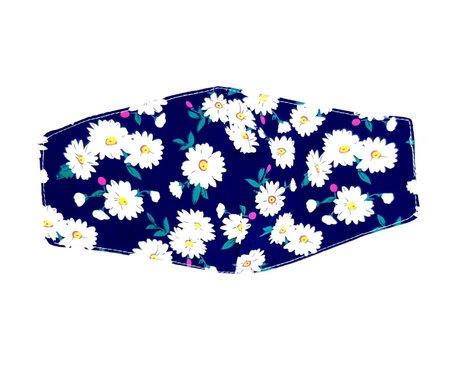 Kwalitatief Mondkapjes | Herbruikbaar | Wasbaar | 2 laags Kleur Blauw Met Bloemetjes