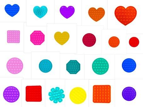 250pcs Pop It Mixed Designs and Colors