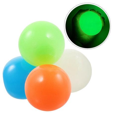 Sticky Balls - 4 Stuks Glow in the dark 6,5