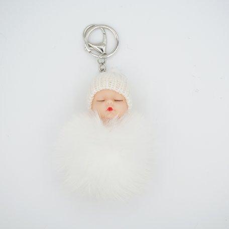 Baby Sleutel/Tas hanger Wit 17 cm