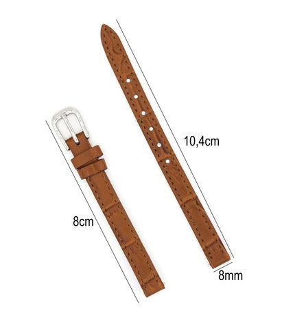 Horlogeband Leer 8mm - Croco Band + Push Pin - Donker Bruin