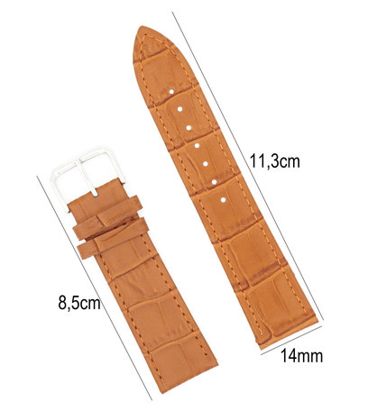 Horlogeband Leer 14mm - Croco Band + Push Pin - Licht Bruin