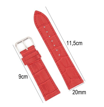 Horlogeband Leer 20mm - Croco Band + Push Pin - Rood