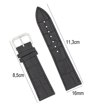 Horlogeband Leer 16mm - Croco Band + Push Pin - Zwart