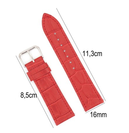 Horlogeband Leer 16mm - Croco Band + Push Pin - Rood