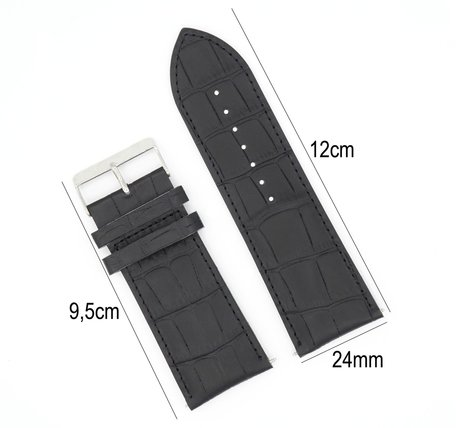 Horlogeband Leer 24mm - Croco Band + Push Pin - Zwart
