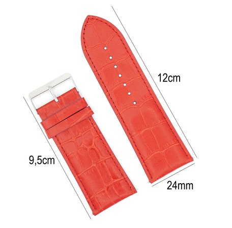 Horlogeband Leer 24mm - Croco Band + Push Pin - Rood