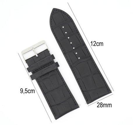 Horlogeband Leer 28mm - Croco Band + Push Pin - Zwart