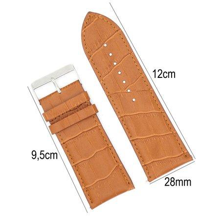 Horlogeband Leer 28mm - Croco Band + Push Pin - Licht Bruin