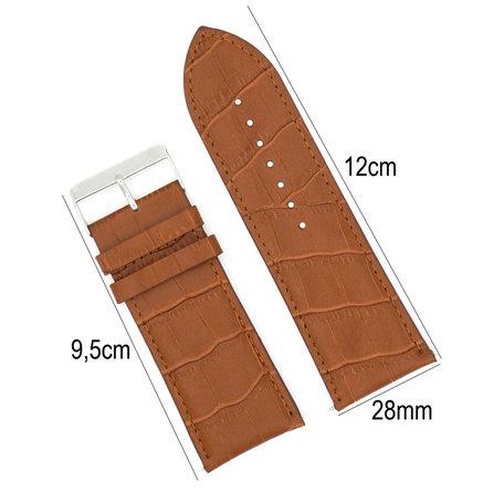 Horlogeband Leer 28mm - Croco Band + Push Pin - Donker Bruin
