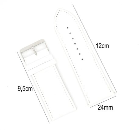Horlogeband Leer 24mm - Croco Band + Push Pin - Wit