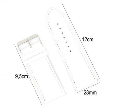 Horlogeband Leer 28mm - Croco Band + Push Pin - Wit