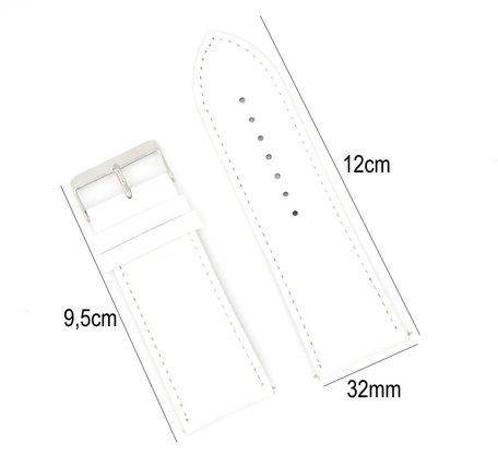 Horlogeband Leer 32mm - Croco Band  + Push Pin - Wit