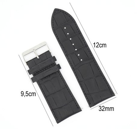 Horlogeband Leer 32mm - Croco Band  + Push Pin - Zwart